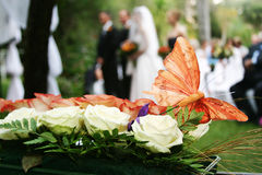 Butterfly. Decoration on wedding bouquet Royalty Free Stock Image