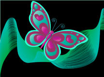 Butterfly. Glow worm in the night with twirl leaf Royalty Free Stock Images