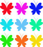 Butterfly. Nine butterflies of different colour on the isolated white background Royalty Free Stock Photography
