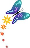 Butterfly. With flowers illustrated image Stock Images