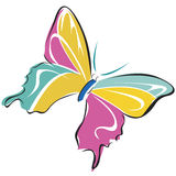 Butterfly. Animal Poultry Flight  Vector Butterflies flying  pink  yellow  green  cartoon  graphics Royalty Free Stock Image