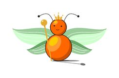 Butterfly. In green and orange colors on white background like a kid toy Royalty Free Stock Photography
