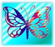 Butterfly 17. Ornamental multicolored butterfly on a turquoise background Royalty Free Stock Image
