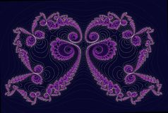 Butterfly. Fractal the image of the butterfly (lilac color with set of fine details Royalty Free Illustration