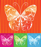 Butterfly. White floral butterfly over colorful background stock illustration