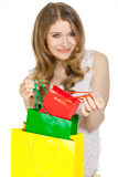 Butterfly. Young woman with a lot of shopping bags Stock Images