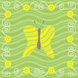 Butterfly. Green and yellow design with butterfly Stock Illustration