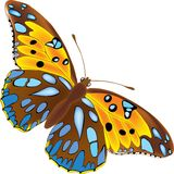 Butterfly. Full detailed brown with blue spots stock illustration