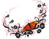 Butterfly. Beautiful butterfly sitting on floral background Royalty Free Stock Photography