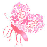 Butterfly. Illustration of butterfly background cherry None Stock Photography