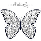 Butterfly. Illustration of silhouette of a black openwork butterflies Stock Photos