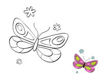 Butterfly 3. Printable coloring page for children Royalty Free Stock Photo