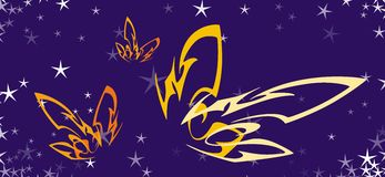 Butterfly. Golden butterfly in summer night stock illustration