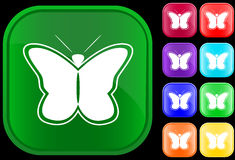 Butterfly. Icon of a butterfly on shiny square buttons Stock Image