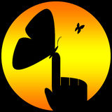 Butterfly. Laid on finger. Background with sun, ready for logo or others graphics applications vector illustration