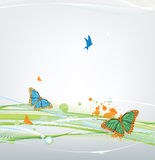 Butterfly on abstract background with blots. Butterfly on abstract background with curves Stock Photography