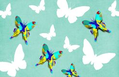 Butterfly Decoupage Wallpaper Stock Photos