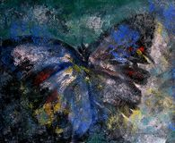 Butterfly abstract oil painting. Original oil painting butterfly abstract - Modern art Stock Image