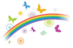 Butterfly abstract & rainbow. Vector abstract with butterflies and a rainbow Royalty Free Stock Image