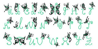 Butterfly alphabet. Green&Black alphabet with flying butterflies for kids education or for capital letter in your book royalty free illustration