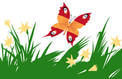 Butterfly amongst flower Royalty Free Stock Photos