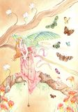 Butterfly angel. Watercolor painting of an angel looking at butterflies Stock Image