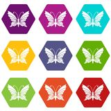 Butterfly with antennae icons set 9 vector. Butterfly with antennae icons 9 set coloful isolated on white for web vector illustration