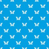 Butterfly with antennae pattern vector seamless blue. Repeat for any use vector illustration