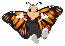 Butterfly with any emotion. Orange butterfly with out any emotion on her face Stock Photo