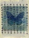 Butterfly Art. Butterfly with asian calligraphy. Mixed media artwork Stock Photo