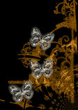 Butterfly Art. An abstract illustrated background with an ornamental silver butterflies on a golden design Royalty Free Stock Photography