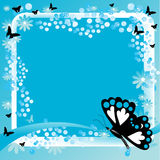 Butterfly artistic background. Abstract blue frame with butterfly shapes, blue bubbles and blue flowers Stock Image