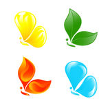 Butterfly as four elements. Royalty Free Stock Image