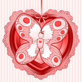 Butterfly baby. Baby with butterfly wings wrapped inside a heart, greeting the announcement of the birth of a baby (female Royalty Free Stock Image