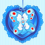 Butterfly baby. Baby with butterfly wings wrapped inside a heart, greeting the announcement of the birth of a baby (male Royalty Free Stock Photo