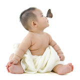 Butterfly and baby Stock Photo