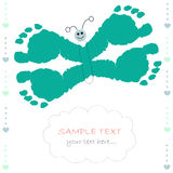 Butterfly with baby prints baby boy greeting card Stock Images