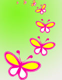 Butterfly background. Pink butterfly's in green background Royalty Free Stock Photography