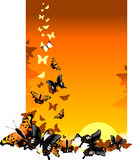 Butterfly background. Vector illustration butterfly on colour background in nature Stock Photo