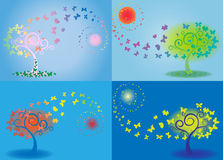 Butterfly background. Vector tree of butterfly, morning, day, evening, night Royalty Free Stock Image