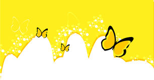 Butterfly background. Nature yellow sky background around butterflies Royalty Free Stock Photos