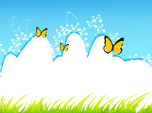 Butterfly background. Illustration of grass and butterflies with blue sky Royalty Free Stock Photo