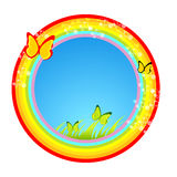 Butterfly background. Rainbow illustration around butterflies on white Royalty Free Stock Photos