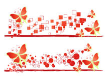 Butterfly background. Illustration butterflies on white with squares and circles Stock Image
