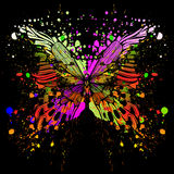 Butterfly on background of with color spots. Vecto Royalty Free Stock Image