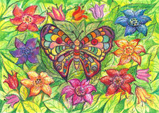 Butterfly on the background of flowers. Hand drawn painting royalty free stock photography