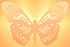 Butterfly Background orange. Ornamental big butterfly and background in orange and yellow colours. Seamless Tile Royalty Free Stock Images