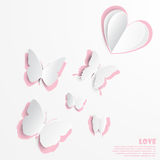 Vector illustration of butterfly paper cut out greeting card designs Stock Image