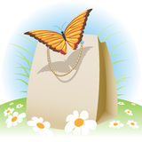 Butterfly on a bag Royalty Free Stock Images
