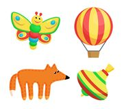Butterfly and Balloon Toys Set Vector Illustration. Butterfly smiling and balloon with tripes, fox and whirlabout, toys set produced at Santa Claus factory for Royalty Free Stock Photo